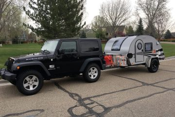 Jeep with My New Teardrop Trailer