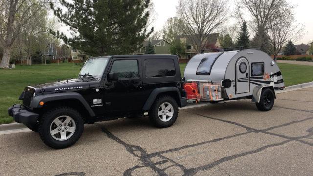 Jeep with My New Teardrop Trailer